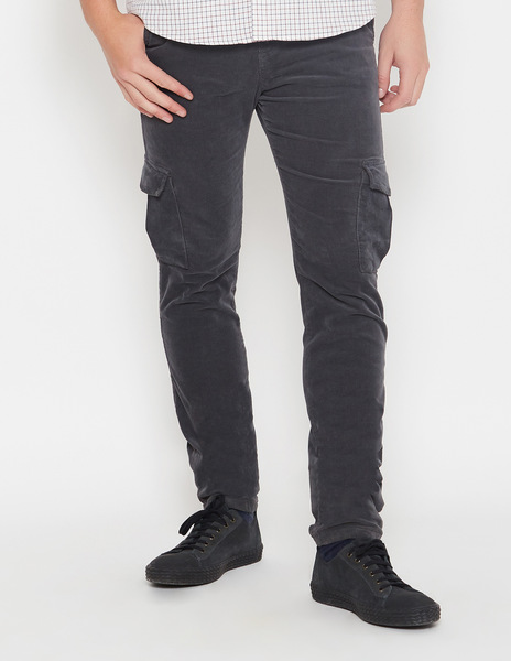Anthracite cord cargo trousers for men