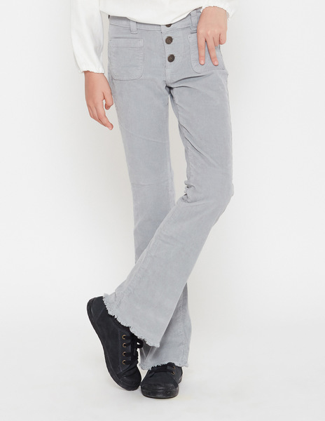 Grey flared corduroy trousers