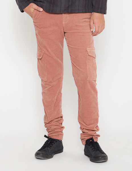 Rust cord cargo trousers for boys