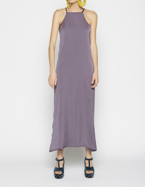 Long mauve halterneck dress
