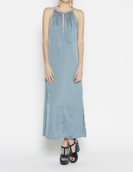 Long grey blue teardrop dress