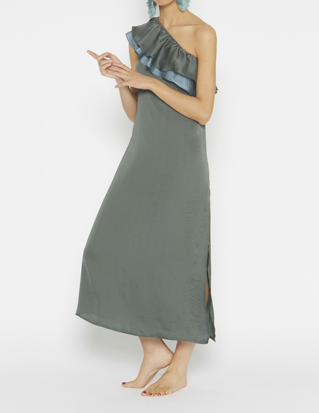 Long two-colour ruffle dress