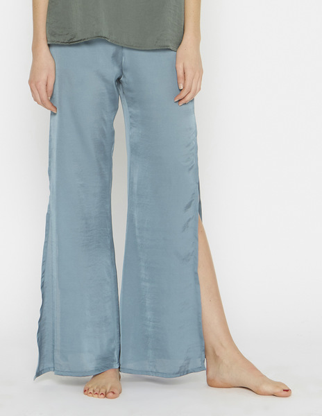 Grey blue silk slit trousers