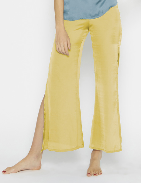 Mustard silk slit trousers