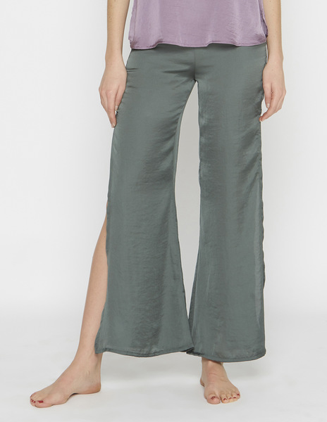 Green silk slit trousers