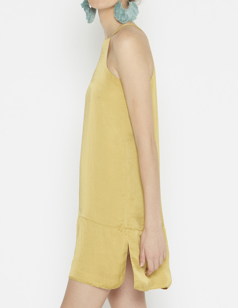 Short mustard halterneck dress