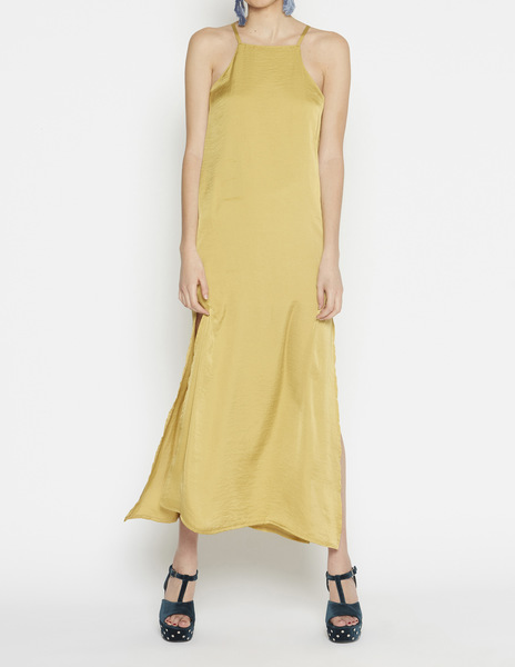 Long mustard halterneck dress