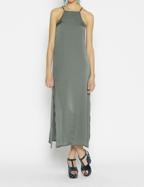 Long grey green halterneck dress