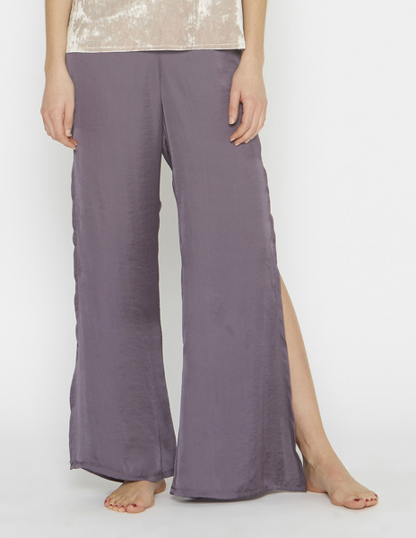 Mauve silk slit trousers