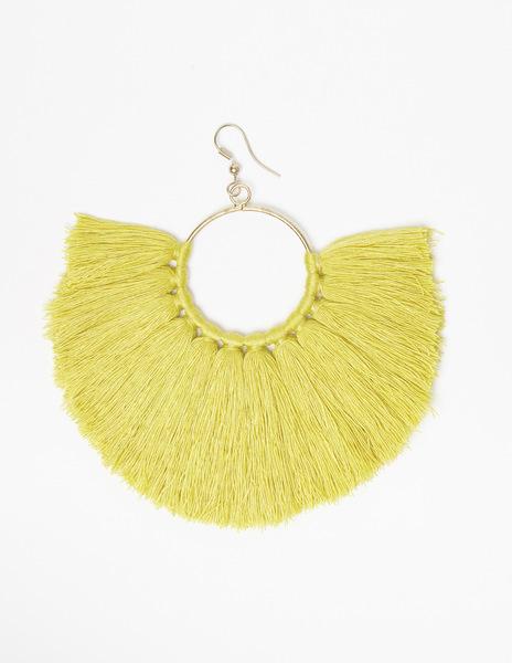 Mustard pompom earrings