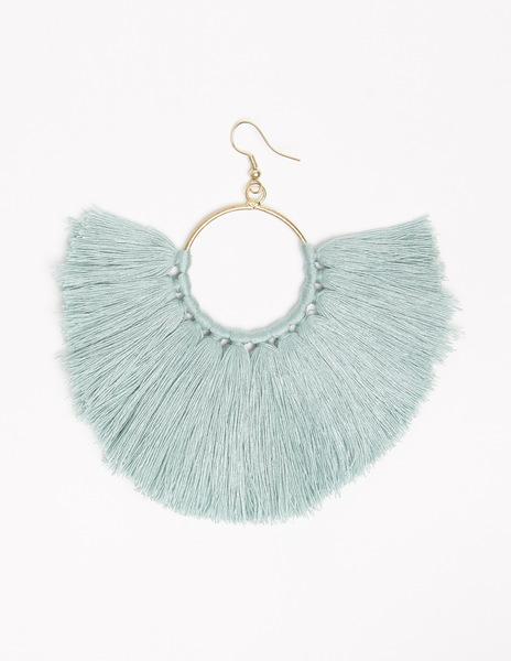 Turquoise pompom earrings