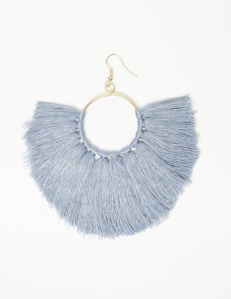 Blue pompom earrings