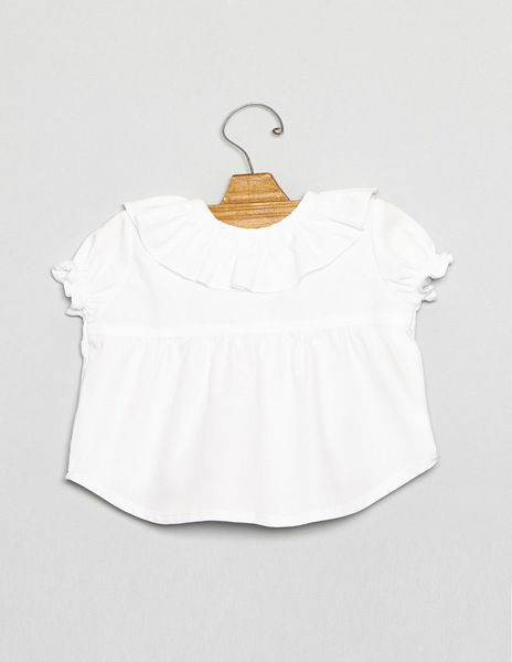 Bell sleeve ruffle neck baby top