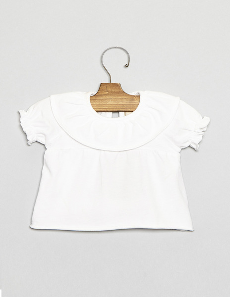 White baby ruffle neck top