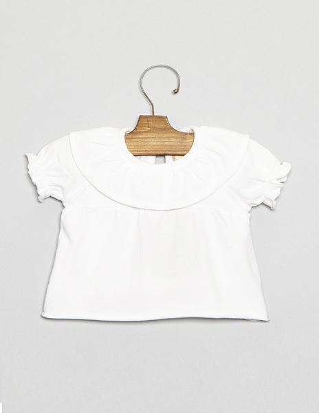 White newborn ruffle neck top