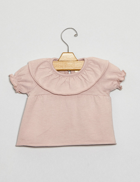 Pink newborn ruffle neck top
