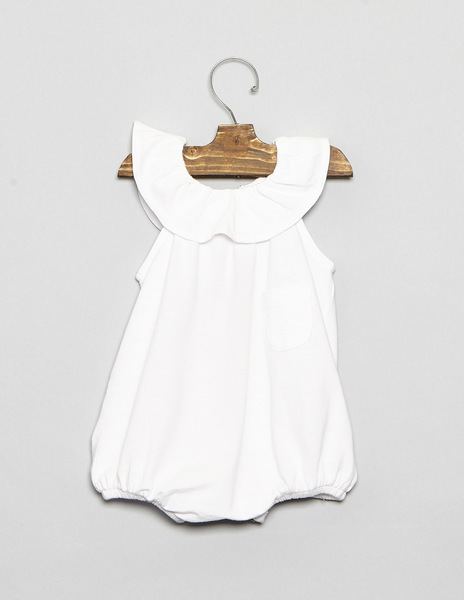 White baby dungarees