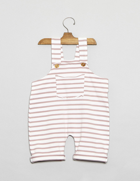 Pink stripey baby dungarees