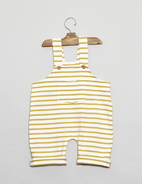 Mustard stripey baby dungarees