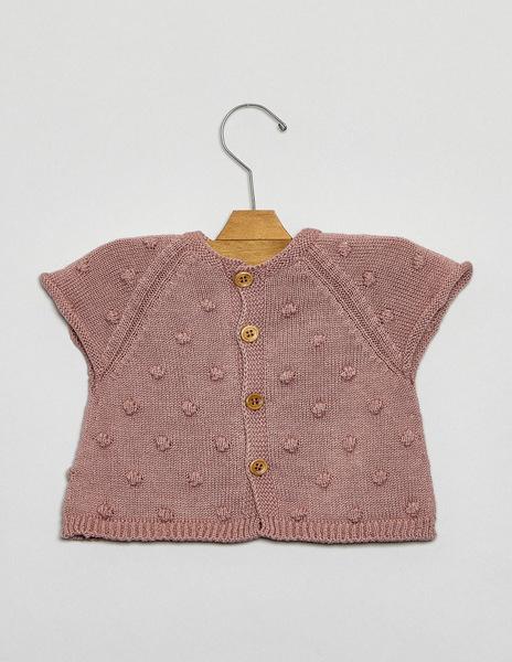 Newborn blackberry short sleeve bobble cardigan