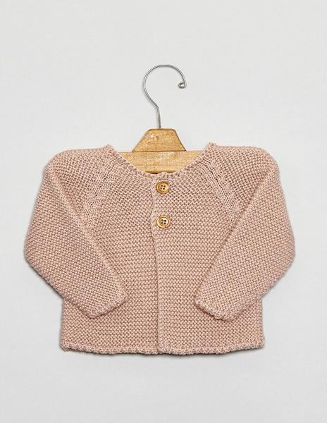 Pink button newborn cardigan