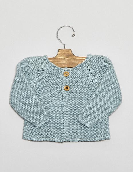 Turquoise button newborn cardigan