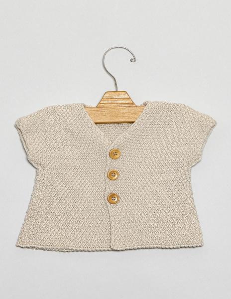 Beige short sleeve newborn cardigan