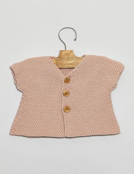 Pink short sleeve cardigan