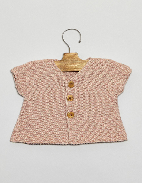 Pink short sleeve newborn cardigan