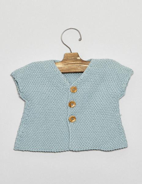 Turquoise short sleeve newborn cardigan