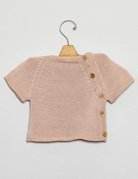 Pink button newborn sweater