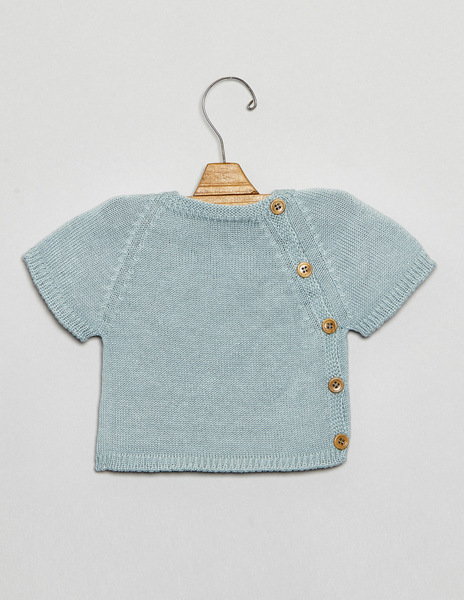 Turquoise button newborn sweater