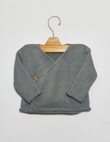 Green crossover newborn sweater