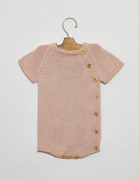 Pink button newborn romper suit