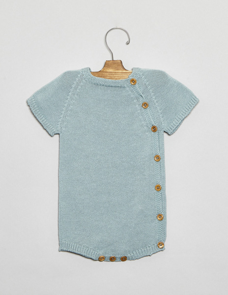 Turquoise button newborn romper suit