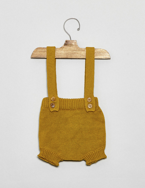 Mustard newborn bloomers with straps