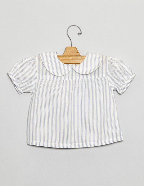 Ecru blue striped newborn top
