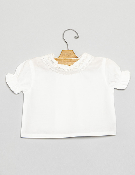 Ruffle neck bordered newborn top