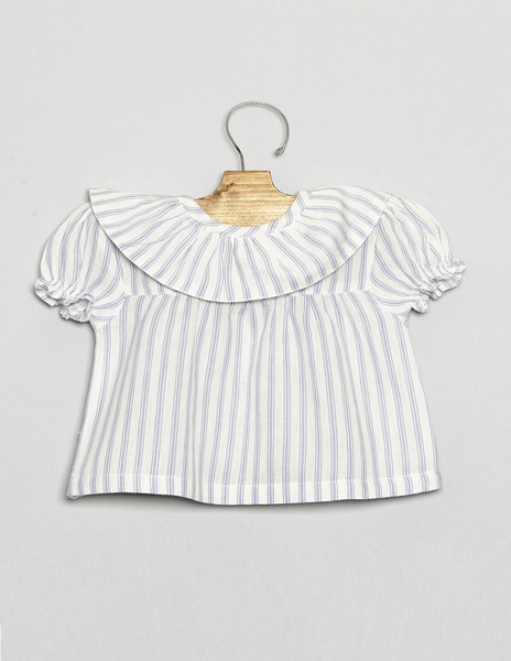 Ecru blue striped ruffle neck newborn top