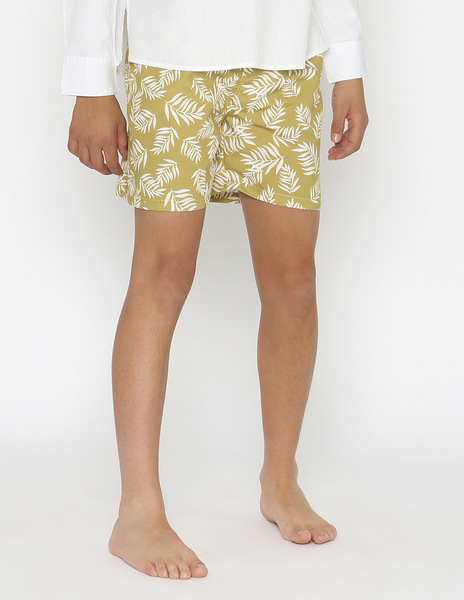 Mustard tropical print swimming trunks