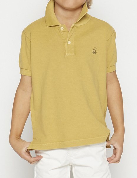 Mustard distressed polo shirt