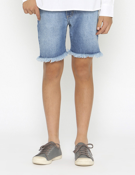 Boys' cropped frayed jeans