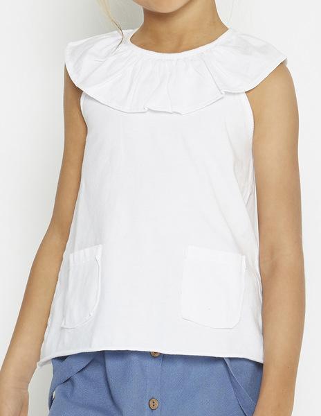 White ruffle neck top