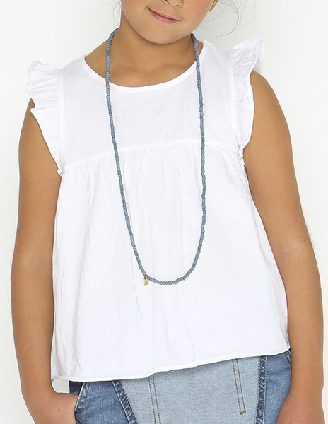 White shoulder ruffle top