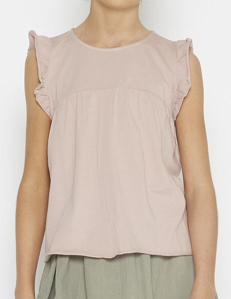 Pink shoulder ruffle top