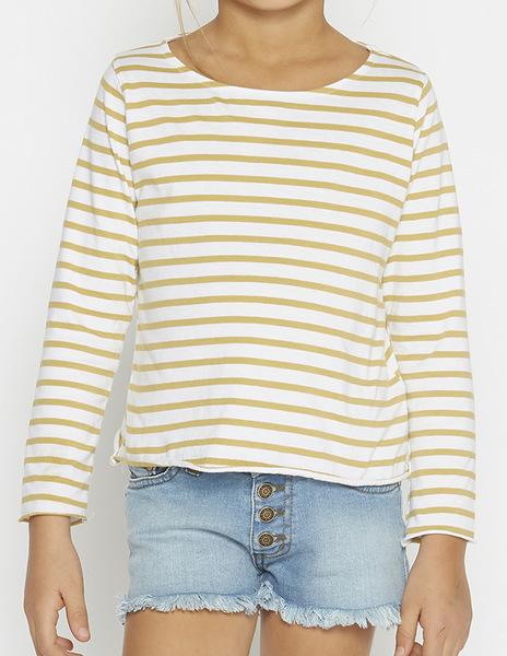 Girls' mustard stripey top