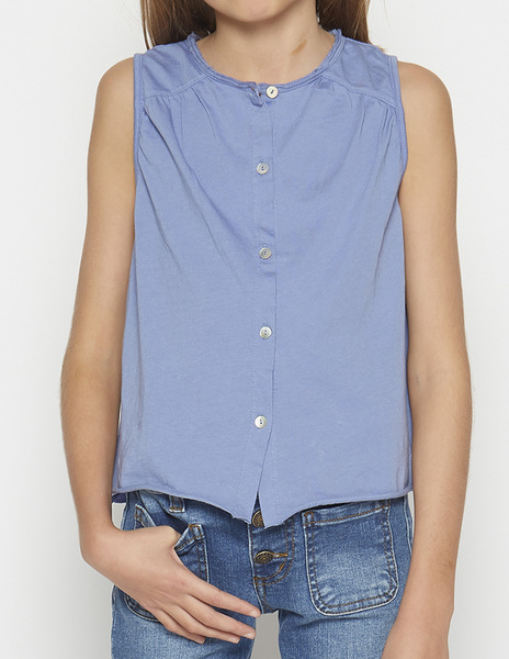 Indigo top with piping