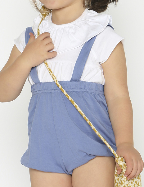 Indigo bloomers with straps