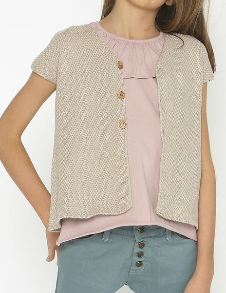 Beige short sleeve cardigan