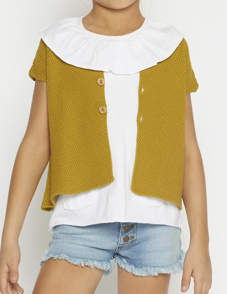 Mustard short sleeve cardigan